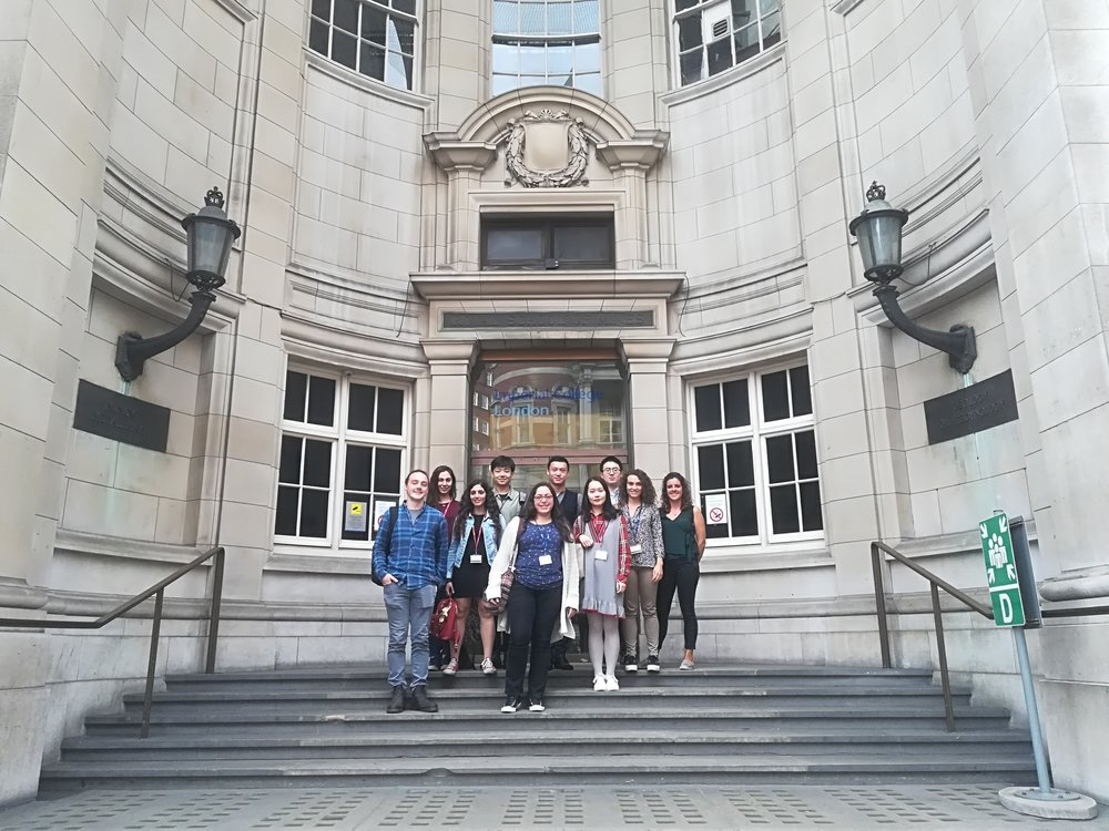 Group Picture outside from Royal School of Mines, Sept 2018. From right Joana, Anna L, Bailin, Qian, Will, Theoni, Xinmo, Anna C, Biresen and Dean