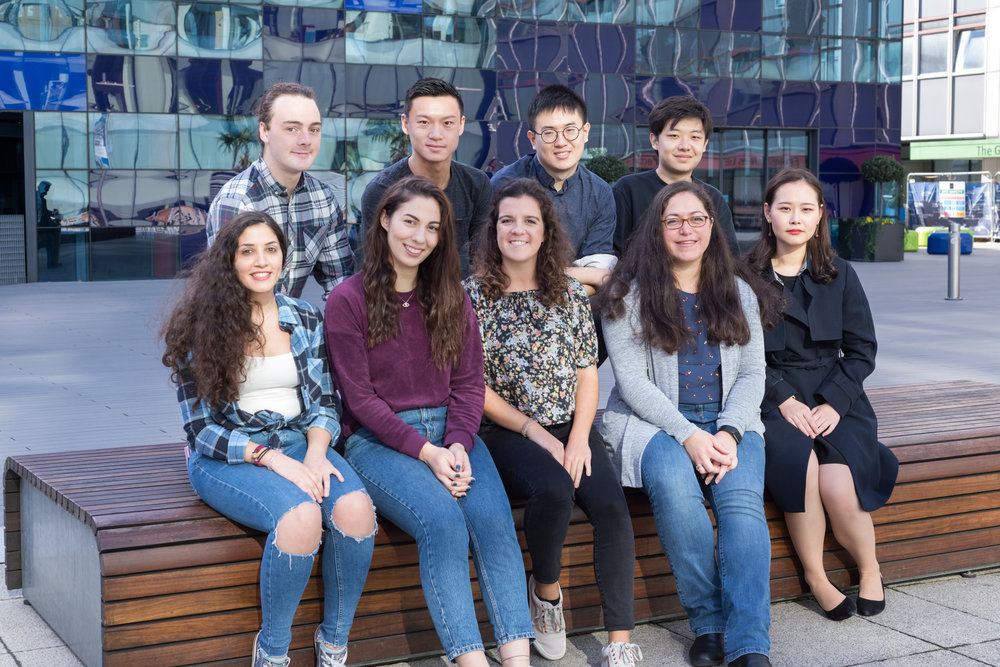 Group Picture October 2018: Bottom (from left) Anna, Birsen, Joana, Theoni and Qian. Top (from left): Dean, Will, Bailin and Xinmo. Apologies for all the MSc and MEng students that could not join us.