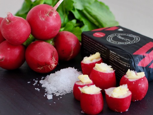 radishes, butter and salt