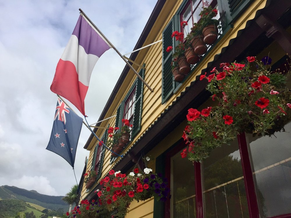 Akaroa, French flag, New Zealand flag