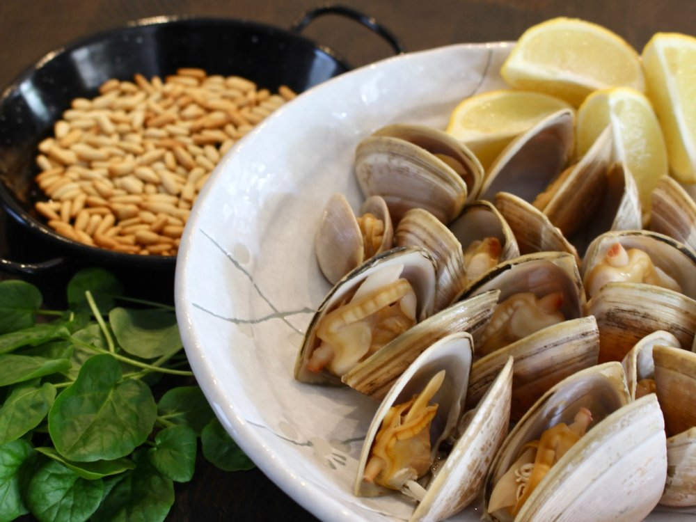 Cloudy Bay clams and Pinoli pine nuts