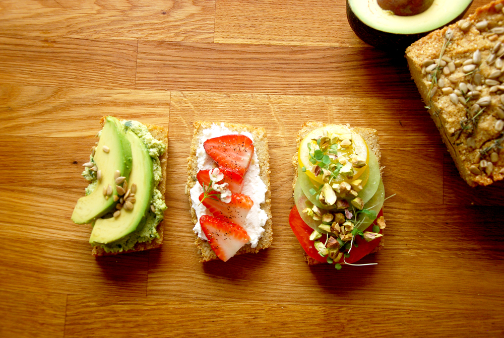 various toppings on quinoa bread.jpg