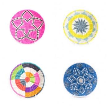 1. Hot pink basket   2. yellow & Blue Basket   3. Multi-color basket   4. Blue basket