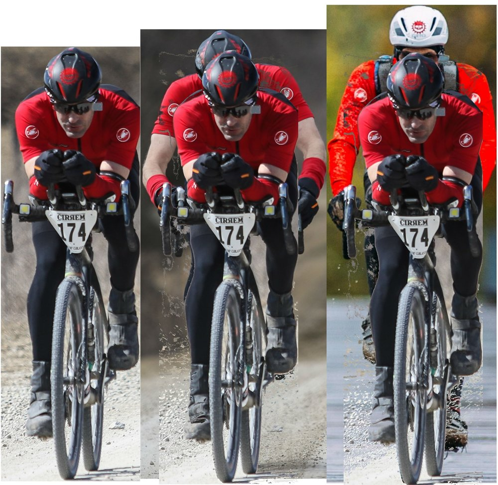 Superimposed image of aero on the other two positions.  You can see the significant difference in cross sectional area between aero and the other positions.  Besides the area differences, upright riding also increases the coefficient of drag as well.