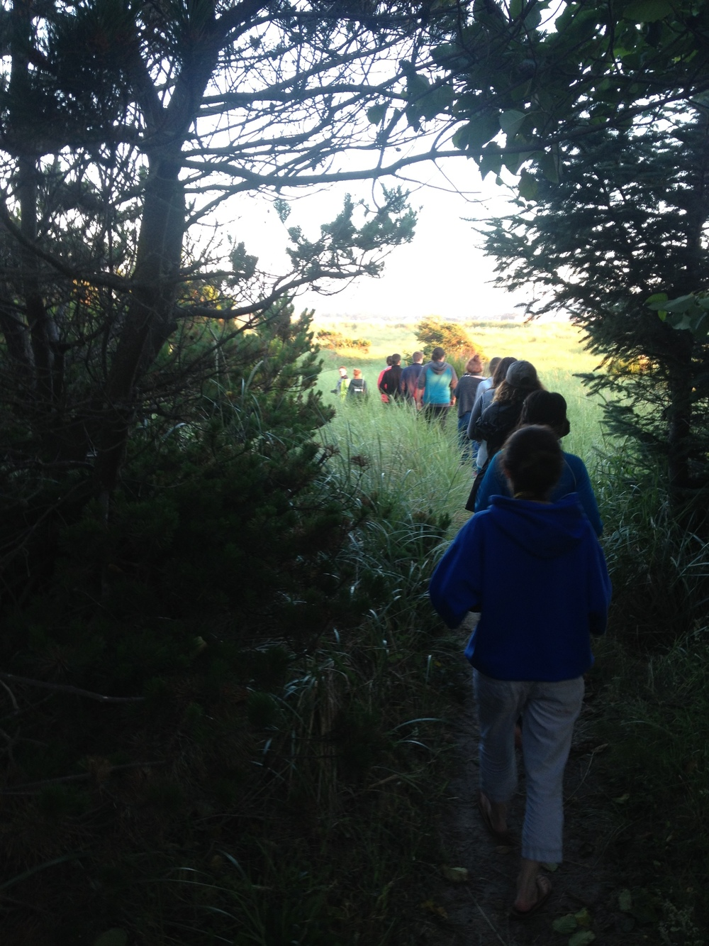 It's 9 pm and the sun is just starting to set. Campers make their way to the beach.    Photo: Rose Holdorf