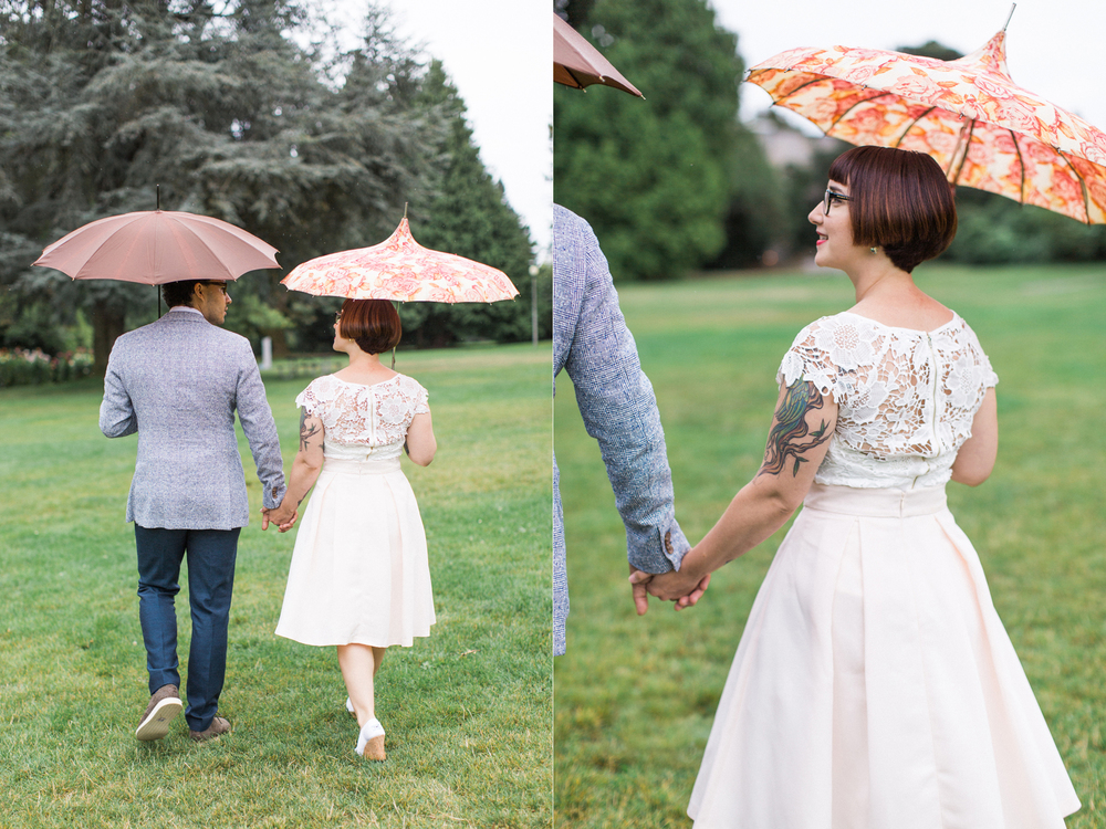 Bride and Groom Portraits at a Volunteer Park Conservatory Wedding with Bella Umbrella