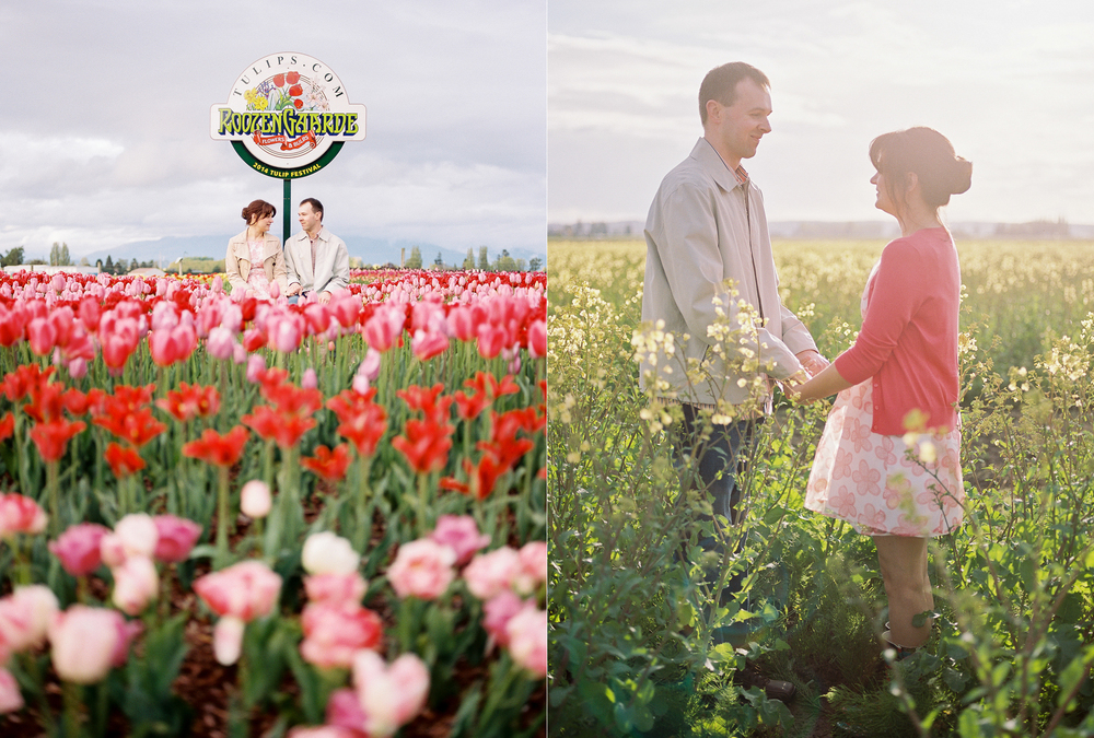 Colorful tulip festival engagement session at Roozengarde in the Skagit Valley
