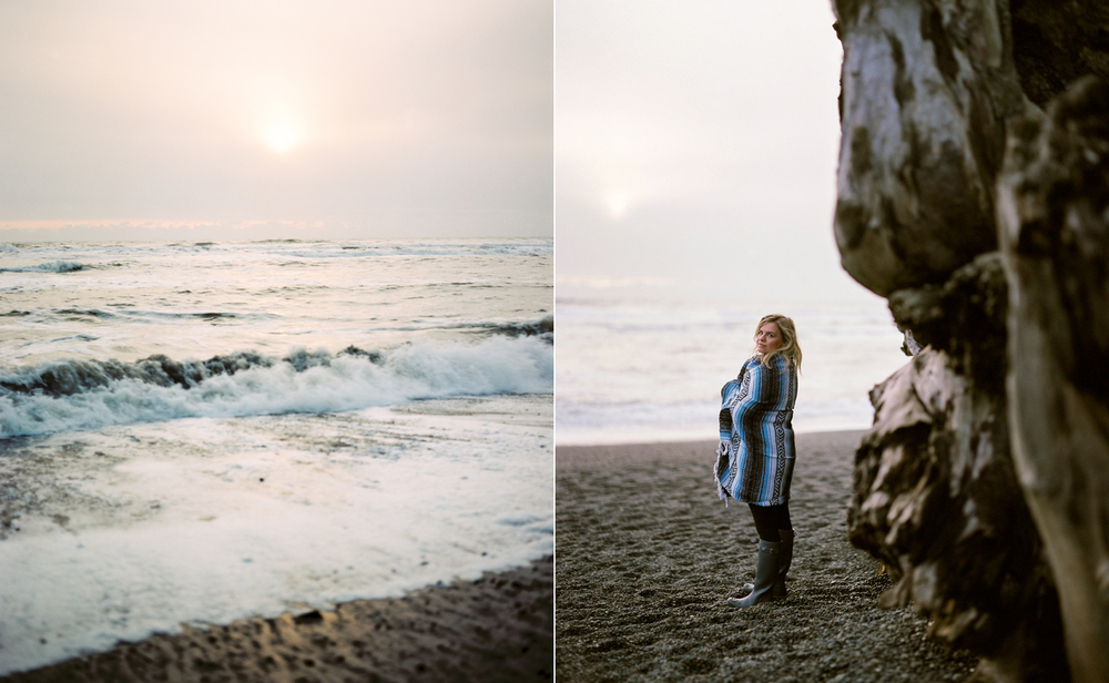 Film portraits at sunset on First Beach in La Push at the Washington Coast