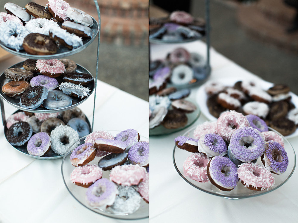 Donuts for Dessert at a Polynesian Inspired Colorful Backyard Port Townsend Wedding