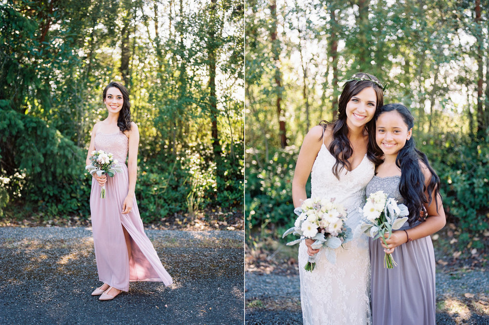 Purple bridesmaid dress inspiration from Davids Bridal at a Polynesian Inspired Backyard Port Townsend Wedding Photography