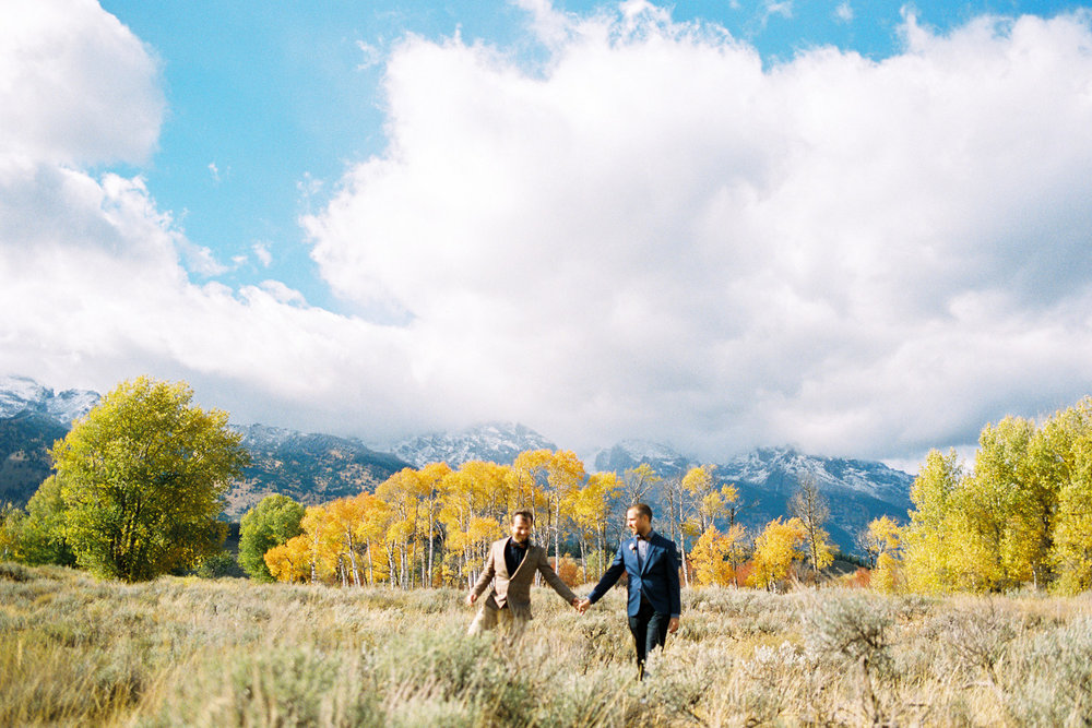Grand Teton National Park Same Sex Fall Color Wedding Destination Wedding Photographer Alexandra Knight Photography