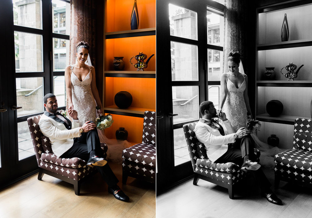 Romantic Bride and Groom African American Couple Wedding Photography at The Bellevue Club