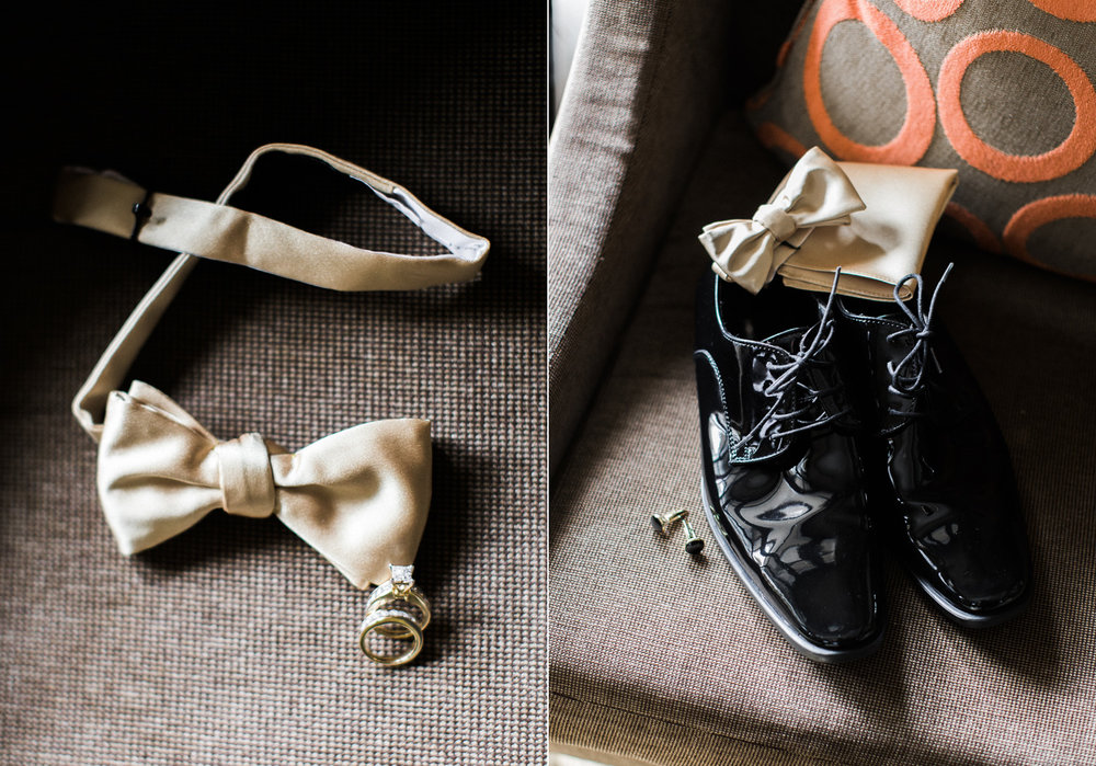 The Bellevue Club Wedding Photography Gold Groomsmen Details with gold bow tie