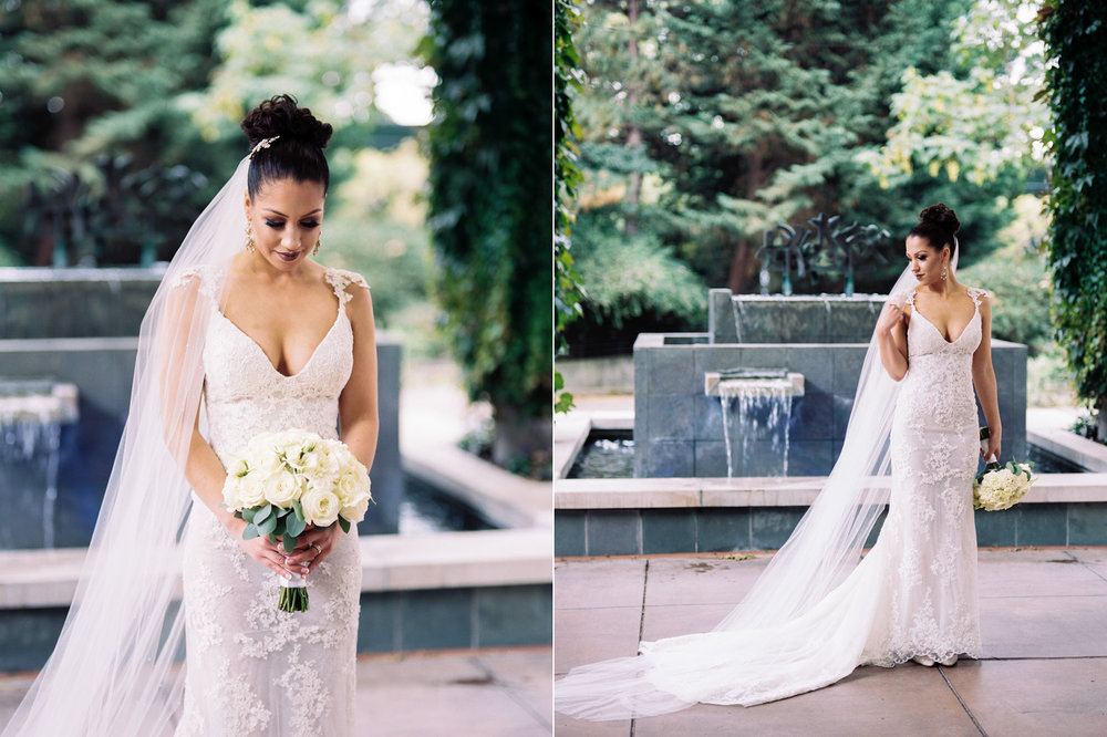 The Bellevue Club Wedding Photography Bride with a long veil and white flowers