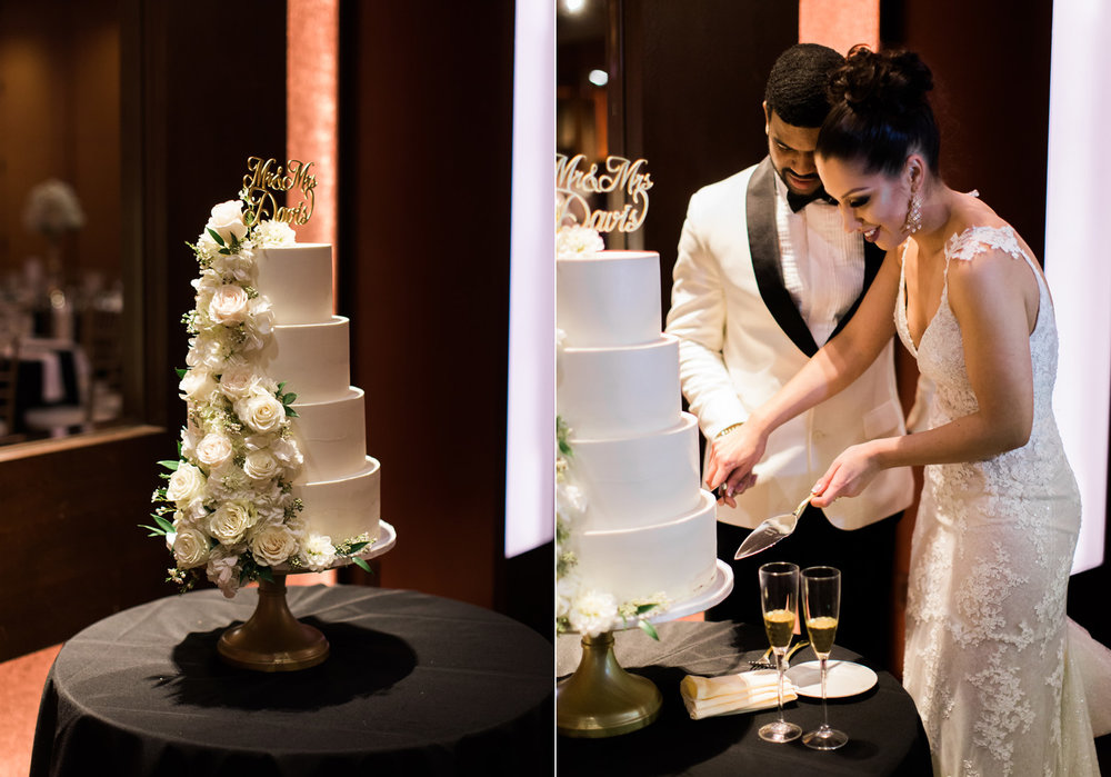 Bride and Groom Cake Cutting Wedding Photography at The Bellevue Club