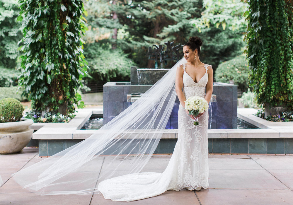 The Bellevue Club Wedding Photography Bride with Cathedral Veil