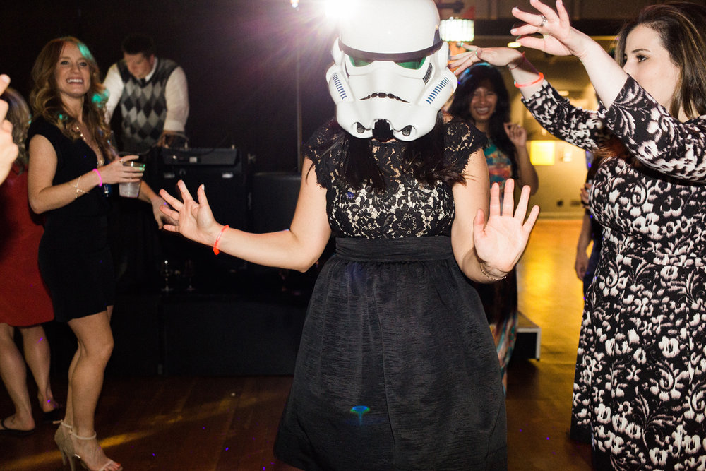 seattle wedding photography star wars storm trooper wedding reception.jpg