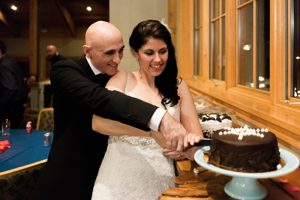 Sleeping Lady Resort Wedding Salmon Gallery Reception Cake Cutting.jpg