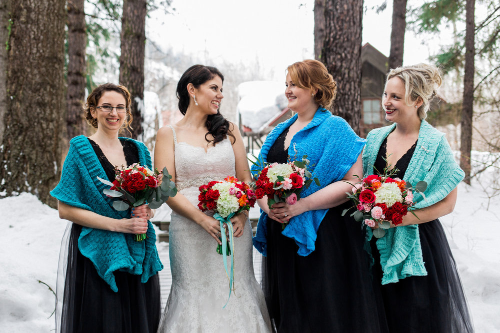 Hand knitted shawls at the Sleeping Lady Mountain Resort in Leavenworth Winter wedding photography