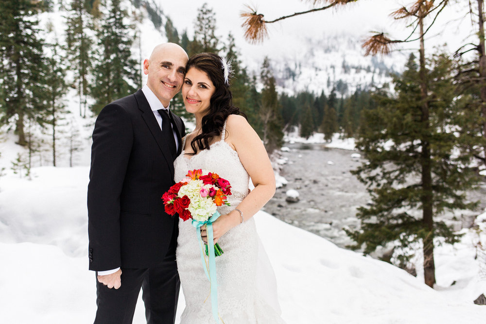 Sleeping Lady Mountain Resort in Leavenworth Winter wedding photography by the icicle creek
