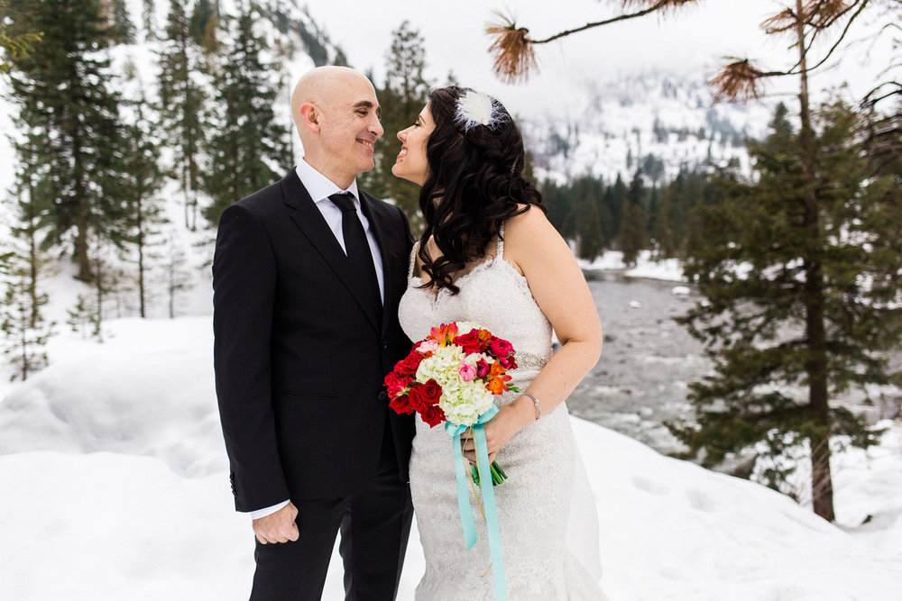 Sleeping Lady Mountain Resort in Leavenworth Winter wedding photography