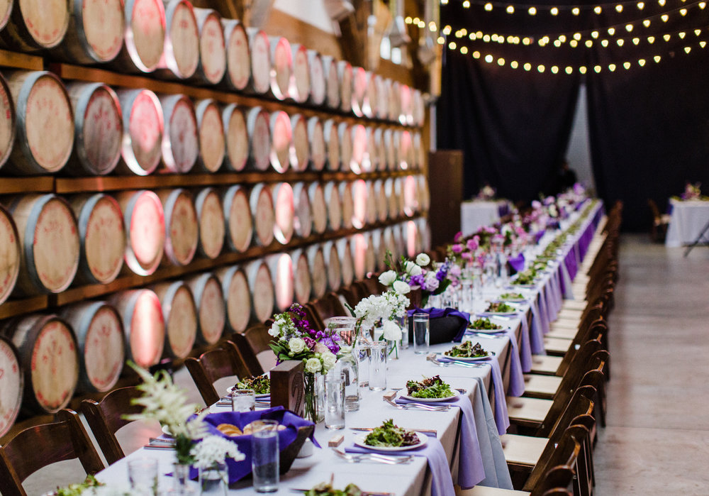 Long Purple Ombre Farm Table for Indoor Wedding Reception at Westland Distillery in SODO Seattle Alexandra Knight Photography