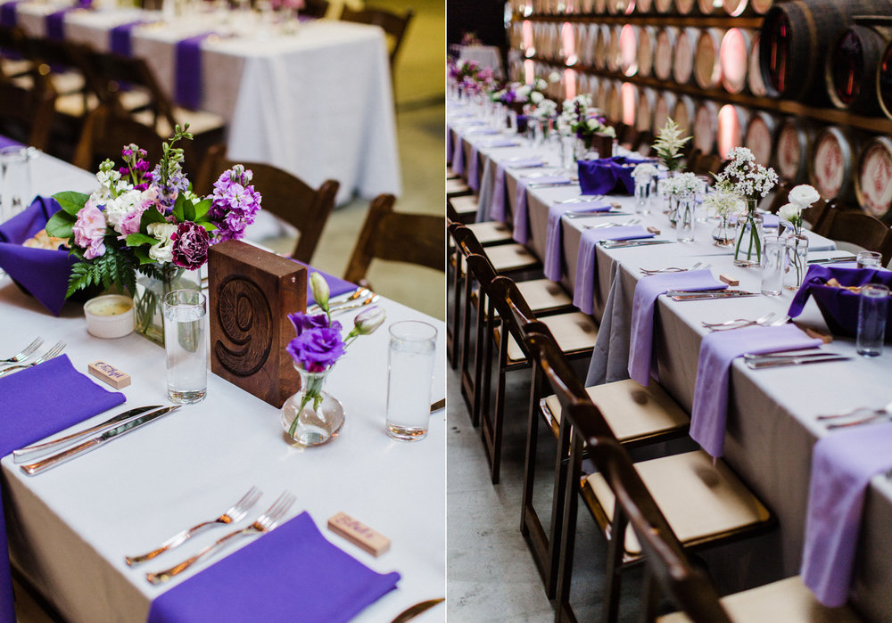 Purple Ombre Farm Table for Wedding Reception at Westland Distillery in Seattle Alexandra Knight Photography