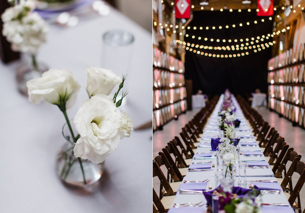 Long Farm Style Reception Table at Westland Distillery Seattle Wedding Venue by Alexandra Knight Photography