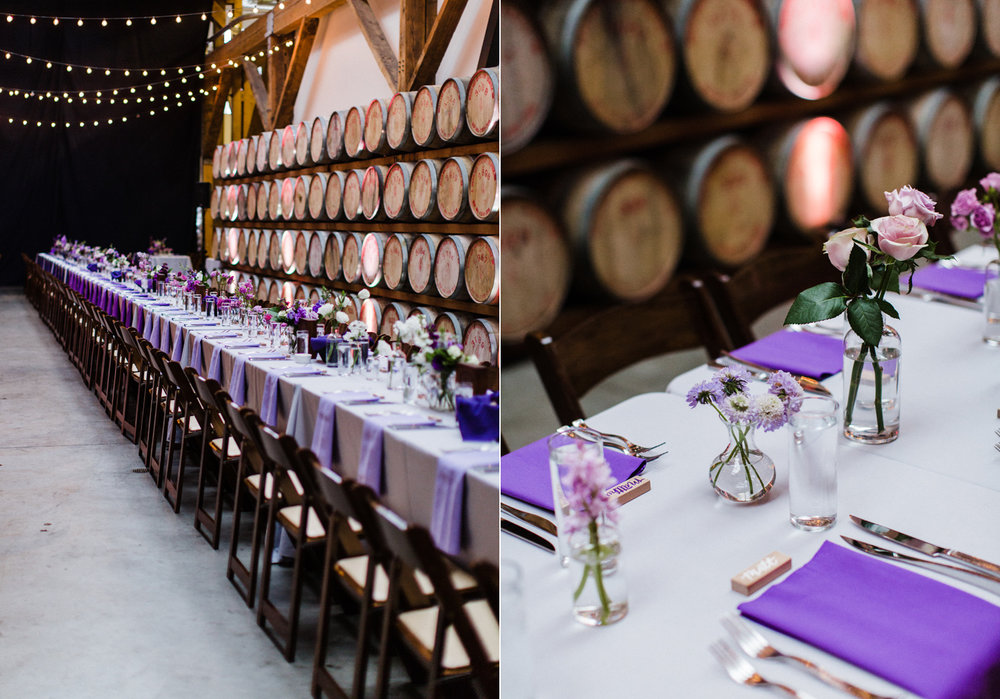 Purple Ombre Wedding Farm Table for Reception at Westland Distillery in Seattle Alexandra Knight Photography