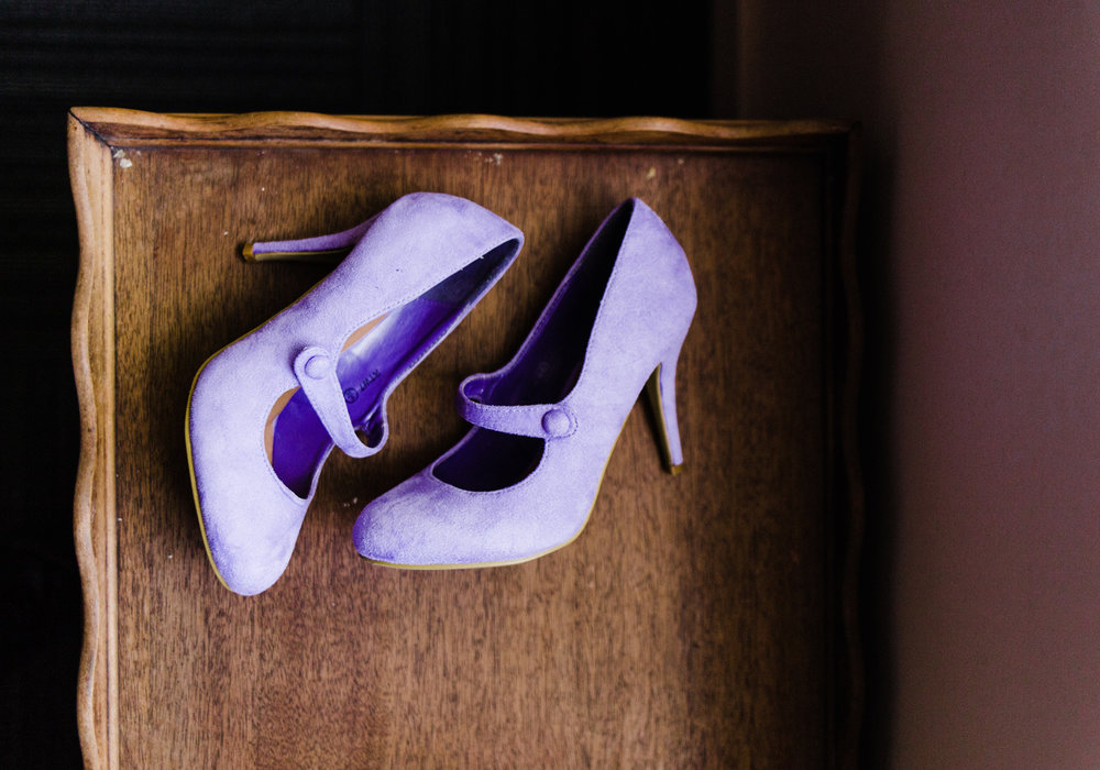 Lavender Purple Suede Bridal Shoes at Westland Distillery in Seattle by Alexandra Knight Photography