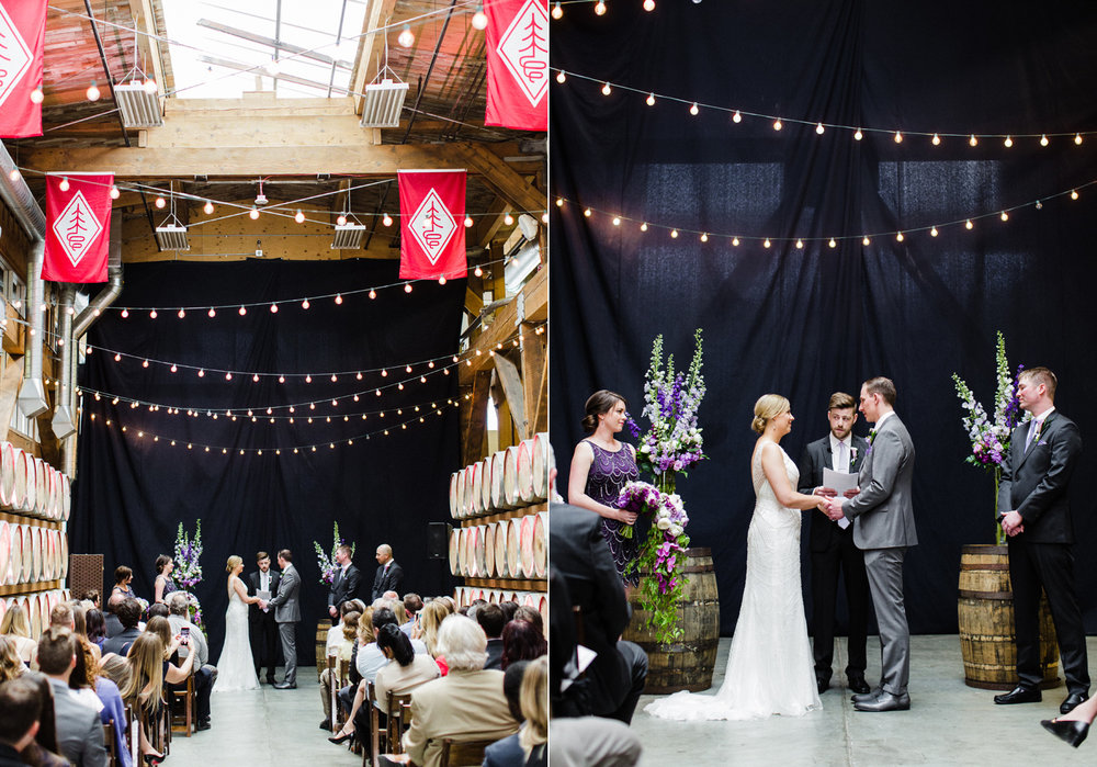 Westland Distillery Indoor Wedding Venue Ceremony Barrel Room by Alexandra Knight Photography