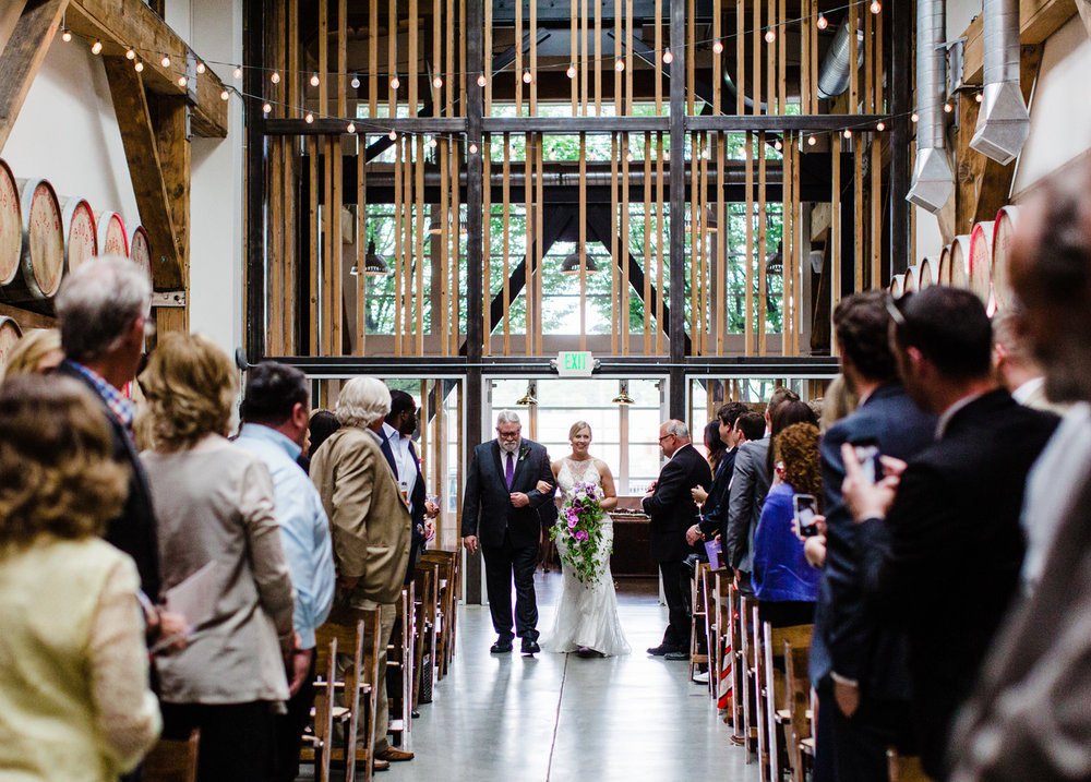 Westland Distillery Indoor Wedding Venue Ceremony Room by Alexandra Knight Photography