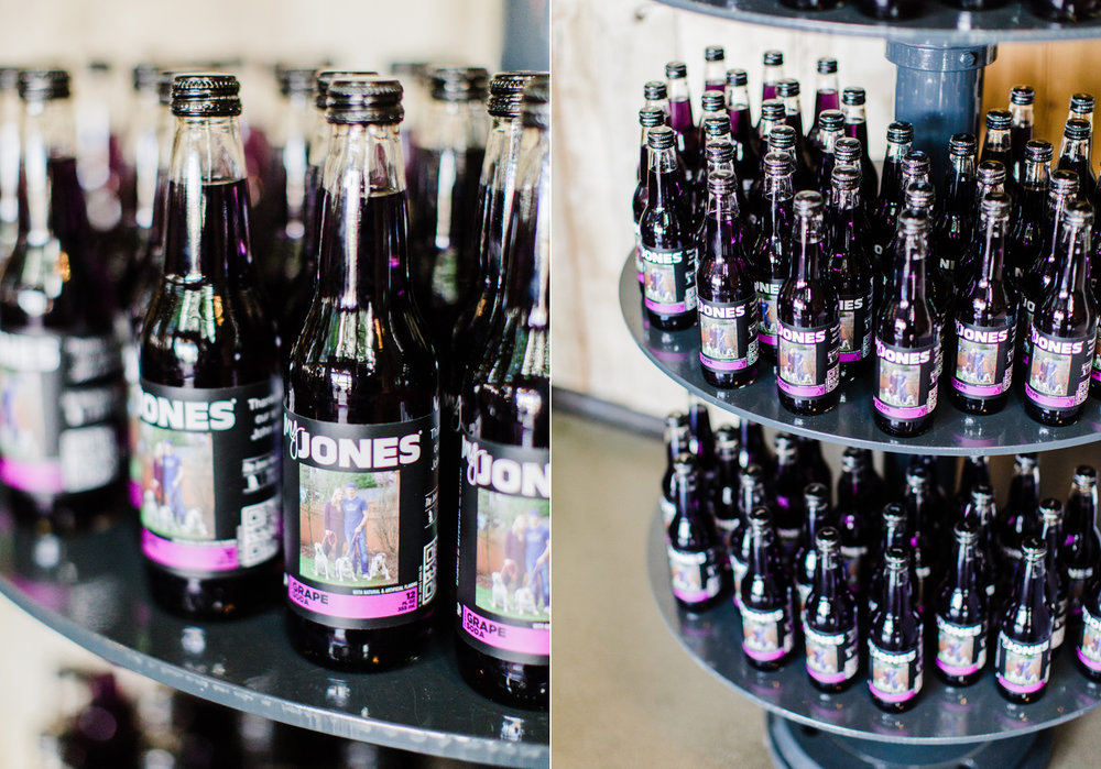 Custom Jones Soda Bottles for a Purple Themed Wedding at Westland Distillery Seattle Wedding Photographer