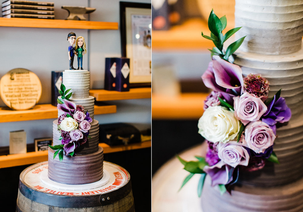 Honey Crumb Cake Studio purple ombre wedding cake at Westland Distillery Seattle Wedding Photographer