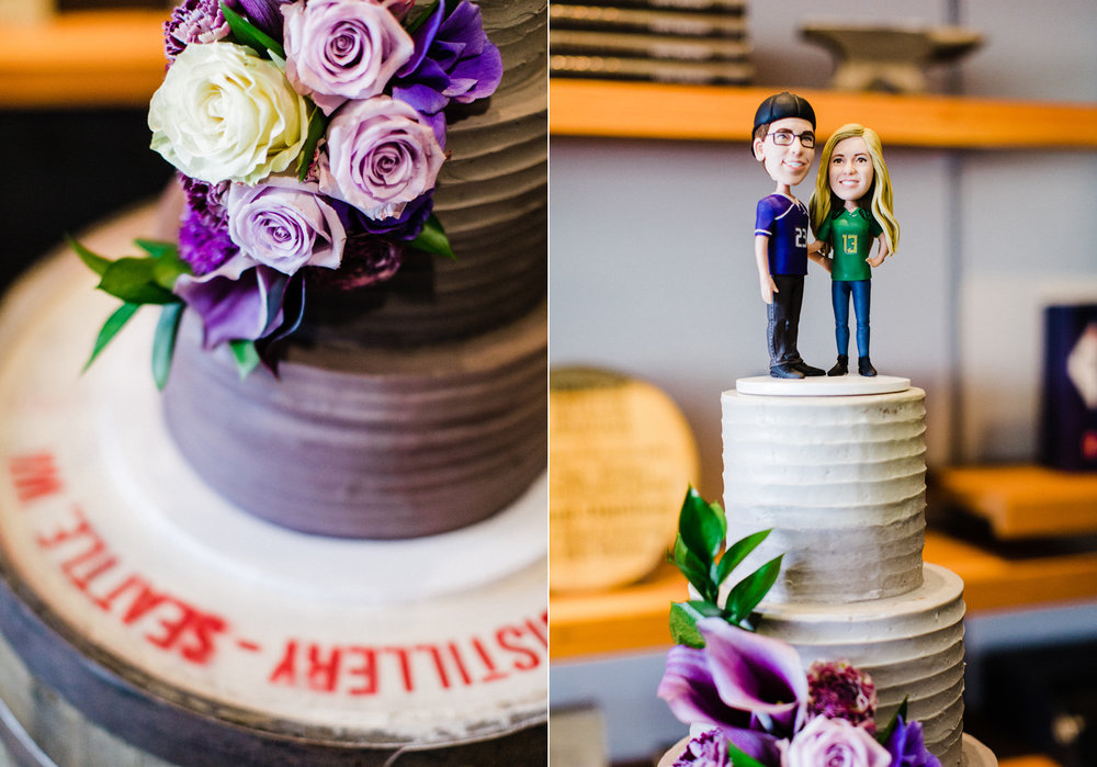 Westland Distillery Indoor Wedding Venue with Purple Ombre Cake by Honey Crumb Cake Studio