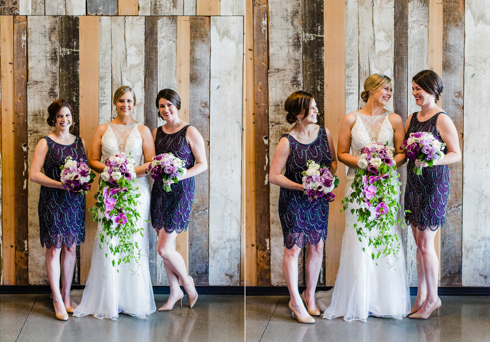 Bridal Party Portraits with Bridesmaids in Sequin Purple Dresses and Purple Ombre Flowers by Alexandra Knight Photography