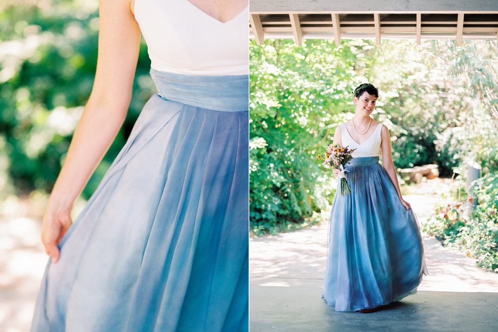 Custom wedding dress with hand dyed blue silk Pacific Northwest Same Sex Wedding Photography