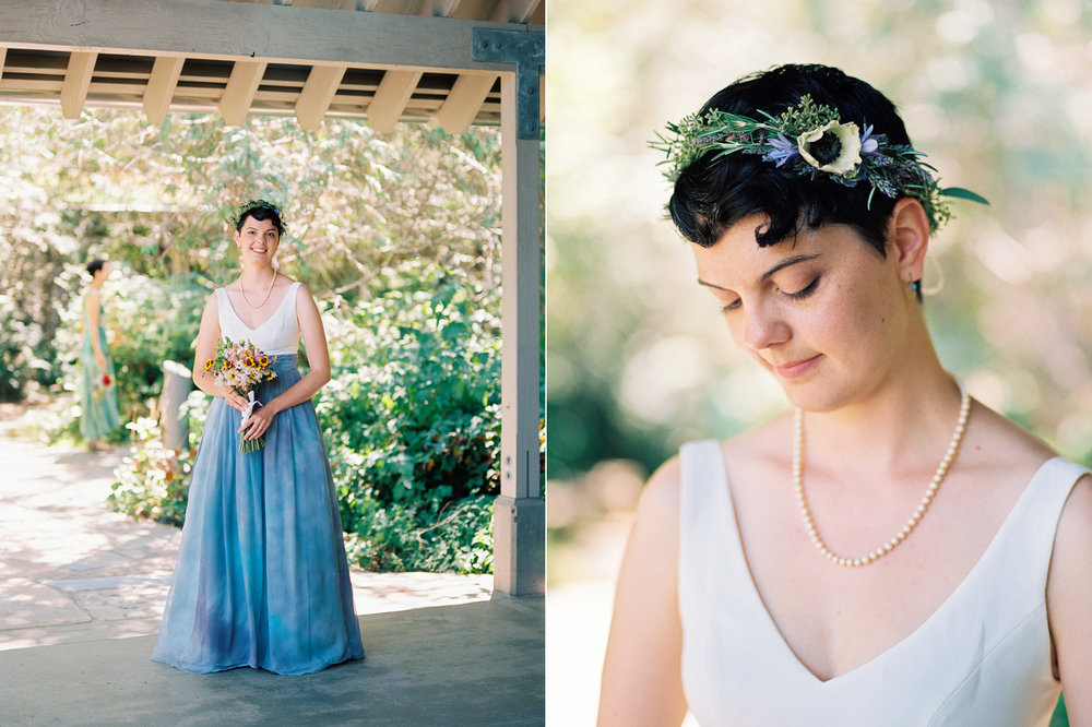 Hand dyed wedding dress and a DIY flower crown wedding photography at Rattlesnake Lake