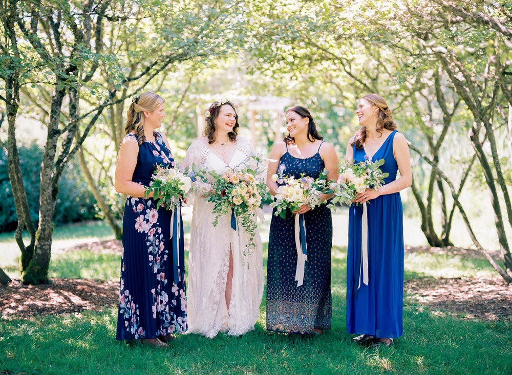 University of Washington Center for Urban Horticulture boho wedding with mismatched bridesmaid dresses