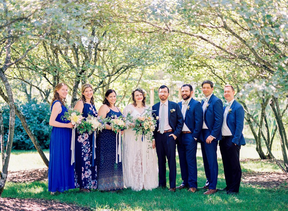 University of Washington Center for Urban Horticulture Wedding Bridal Party in mismatched blue