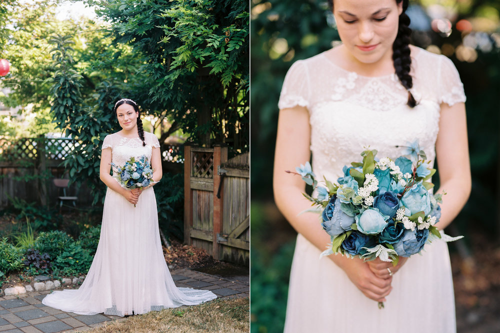 Intimate backyard wedding with blue silk flowers in Seattle
