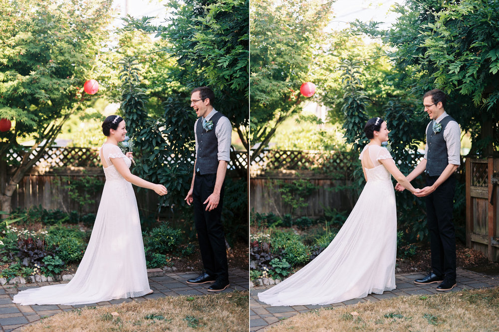 Intimate backyard wedding first look in Seattle