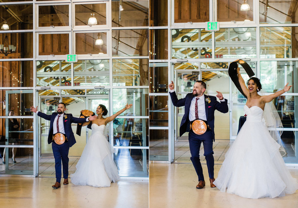 Seattle wedding photography wrestling belts grand entrance.jpg