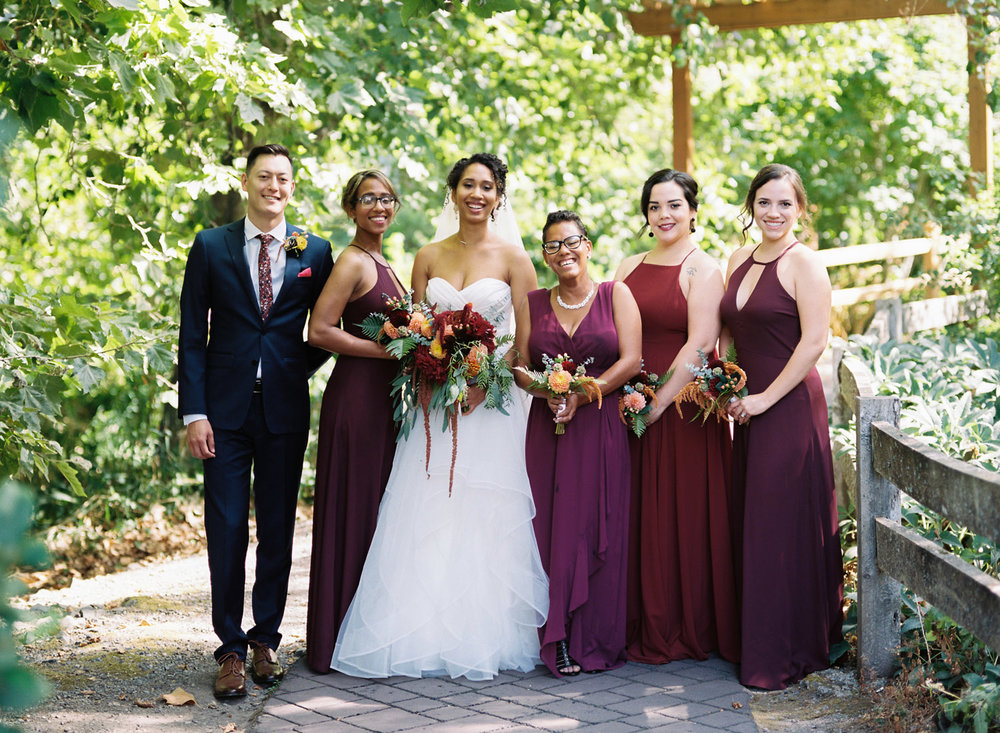Seattle Wedding Photography Burgundy Mismatched Bridal Party.jpg