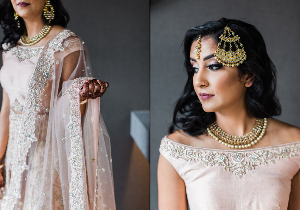 Alexandra Knight Photography Seattle Indian Wedding Photographer bride in blush pink lehenga and gold jewelry.jpg