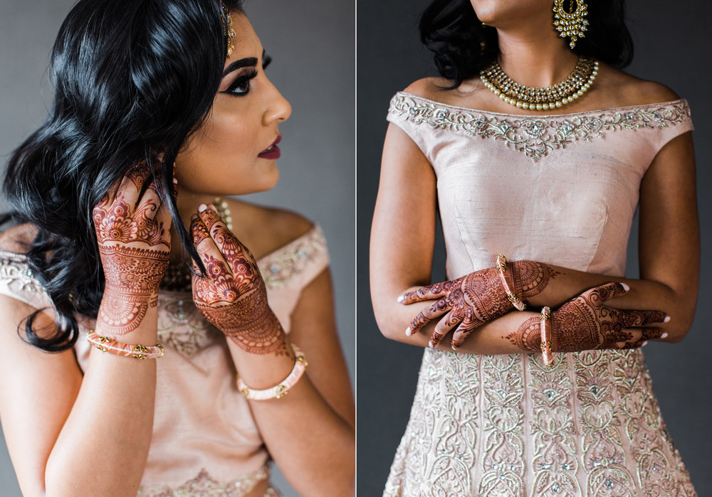 Alexandra Knight Photography Seattle Indian Wedding Photographer bride with blush pink dress and henna.jpg