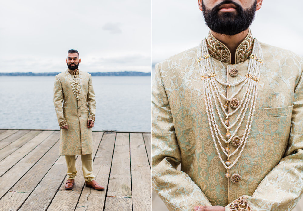 Alexandra Knight Photography Seattle Indian Wedding Photography gold grooms attire sherwani .jpg