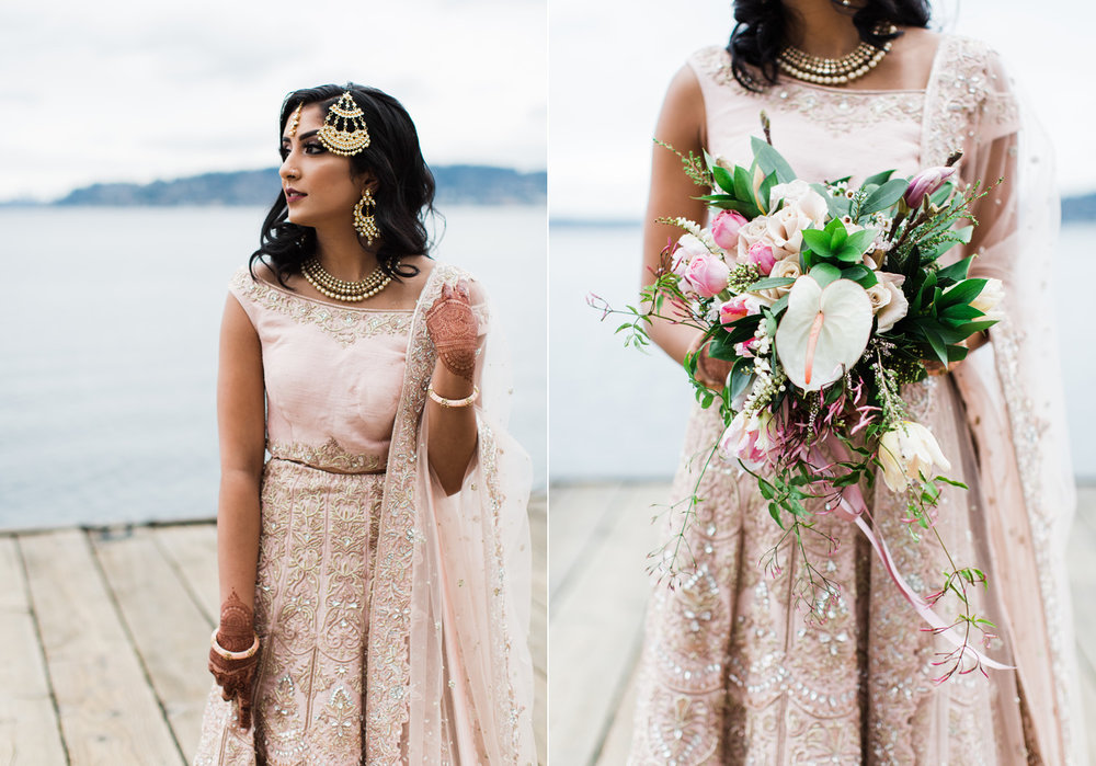 Alexandra Knight Photography Seattle Indian Wedding Photographer bride in blush pink lehenga with tropical flower bouquet.jpg