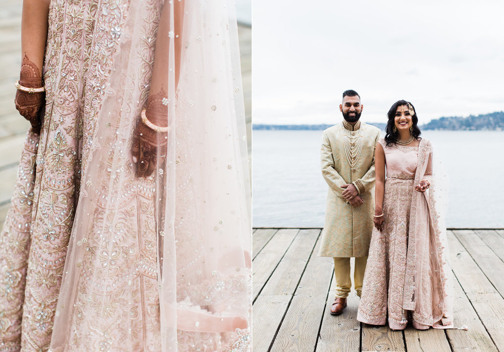 Alexandra Knight Photography Seattle Indian Wedding Photographer blush pink and gold bride and groom dress lehenga.jpg