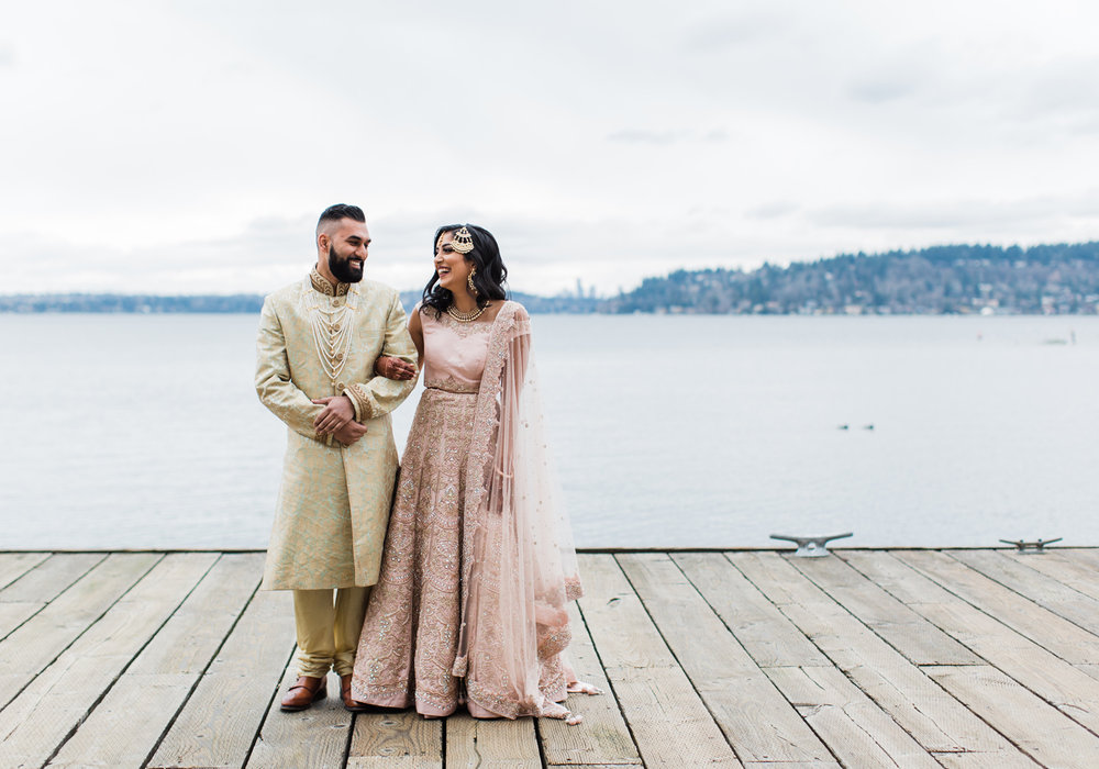 Alexandra Knight Photography Seattle Indian Wedding Photographer Lakeside Hyatt Wedding Venue blush and gold dress.jpg